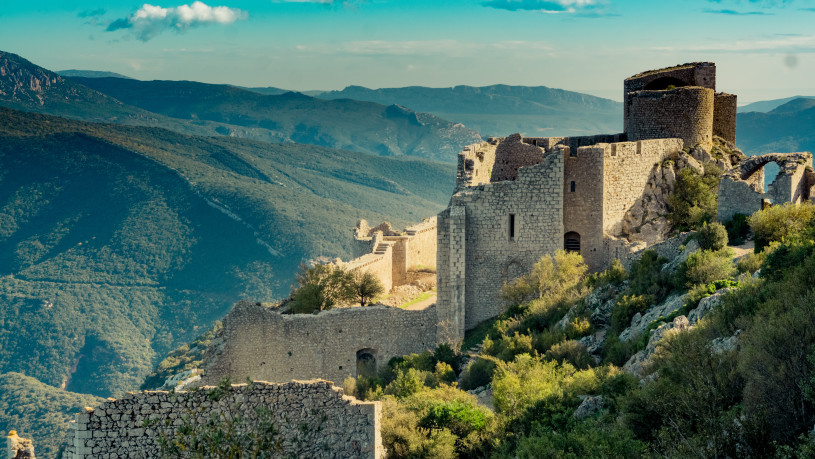 Peyrepertuse ruined fortress in the Corbieres Massif in France